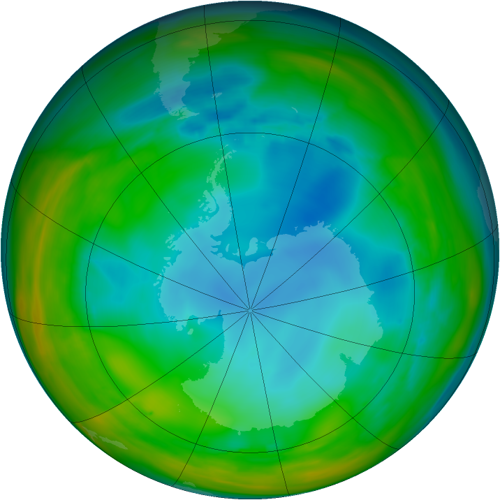 Antarctic ozone map for 22 July 2005