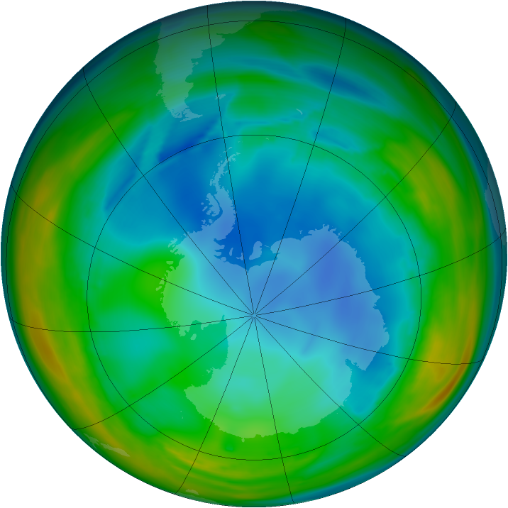 Antarctic ozone map for 25 July 2005