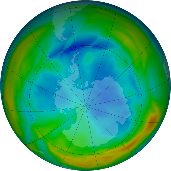 Antarctic ozone map for 28 July 2005