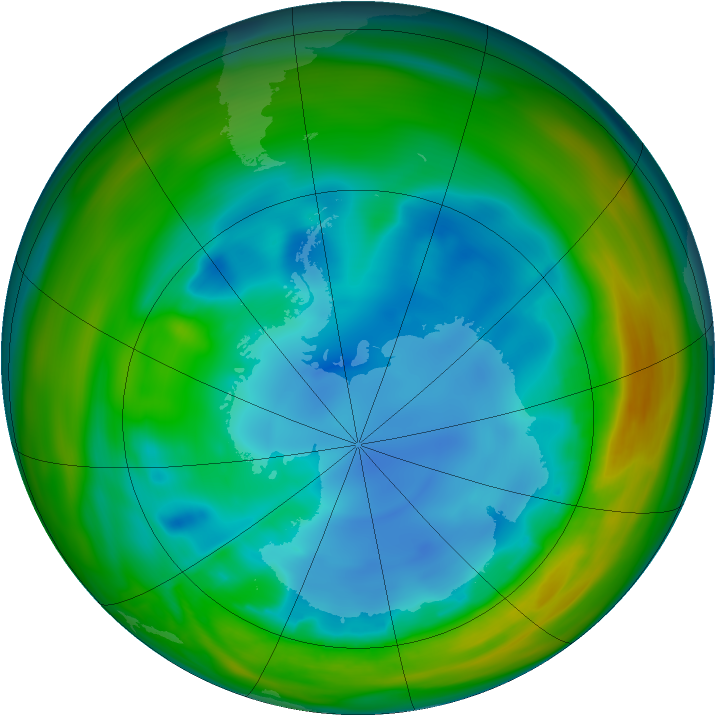 Antarctic ozone map for 31 July 2005