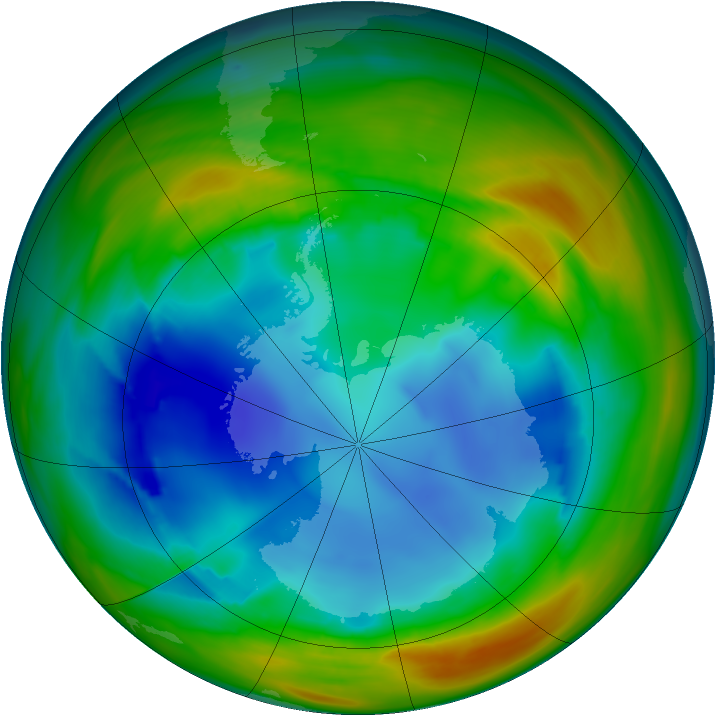 Antarctic ozone map for 03 August 2005