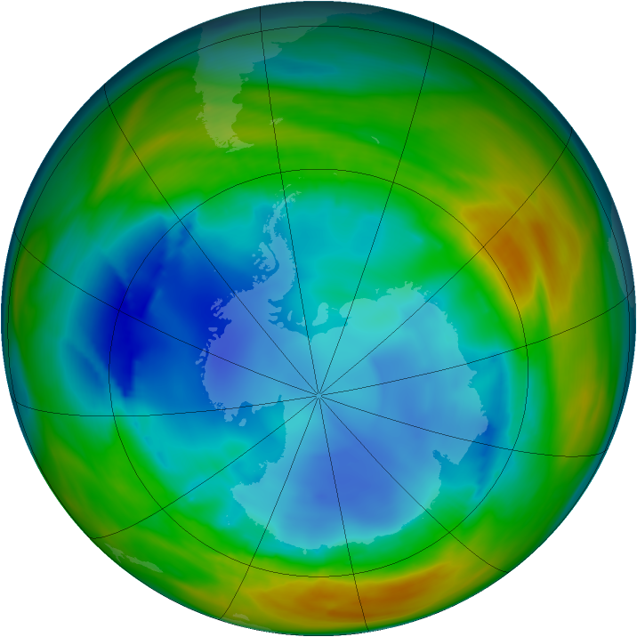 Antarctic ozone map for 04 August 2005