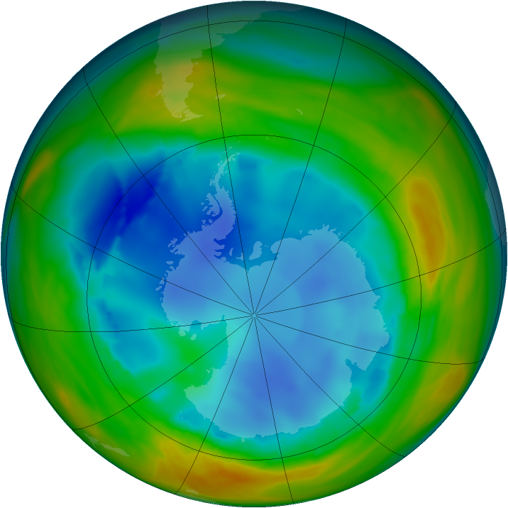 Antarctic ozone map for 05 August 2005
