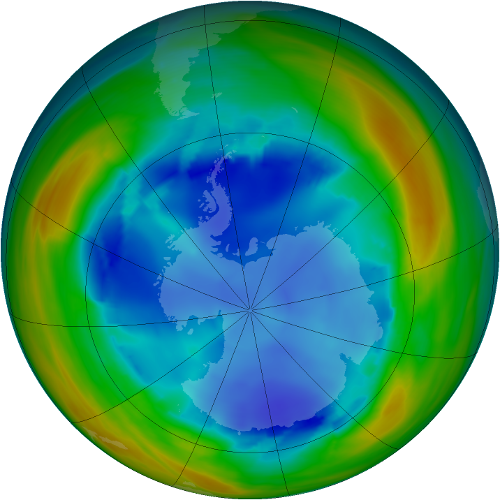 Antarctic ozone map for 09 August 2005