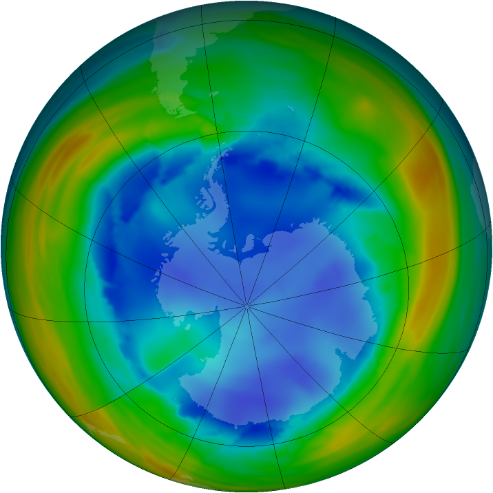 Antarctic ozone map for 10 August 2005