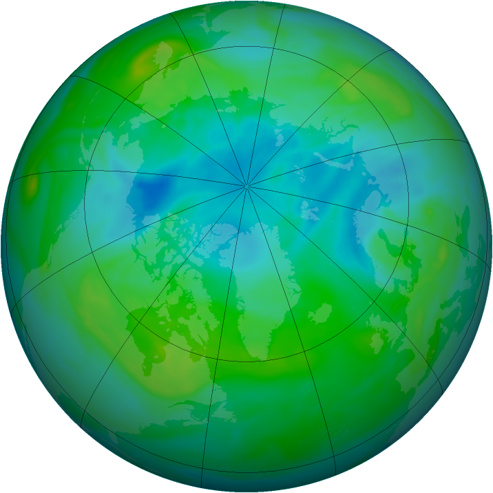 Arctic ozone map for 11 August 2005