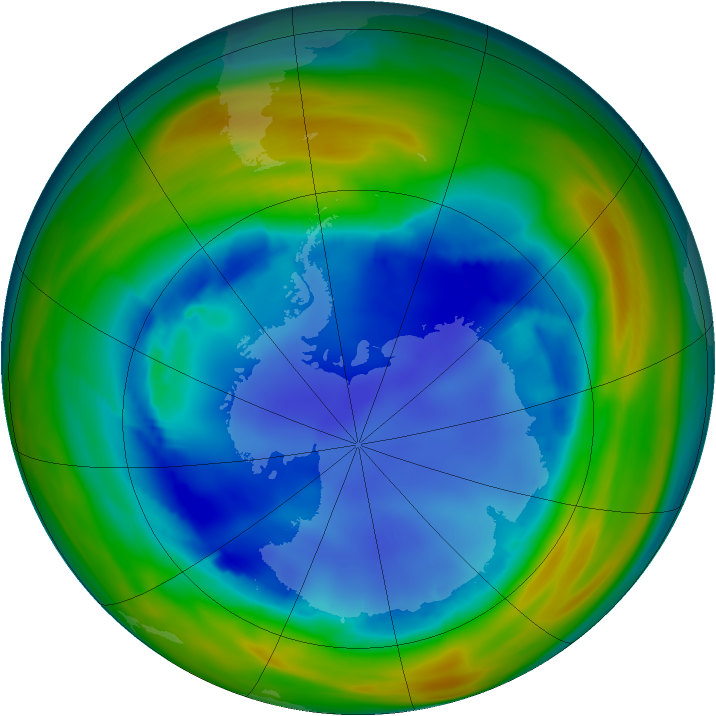 Antarctic ozone map for 13 August 2005