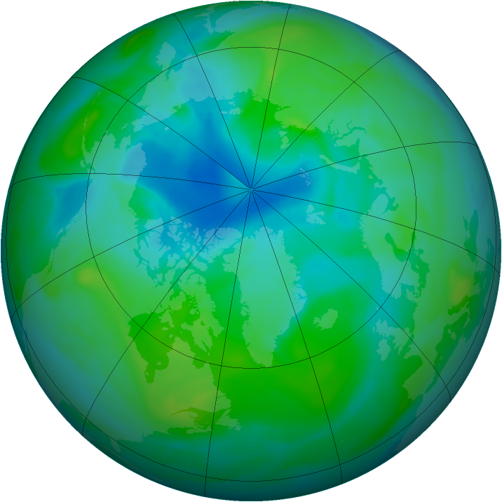Arctic ozone map for 17 August 2005
