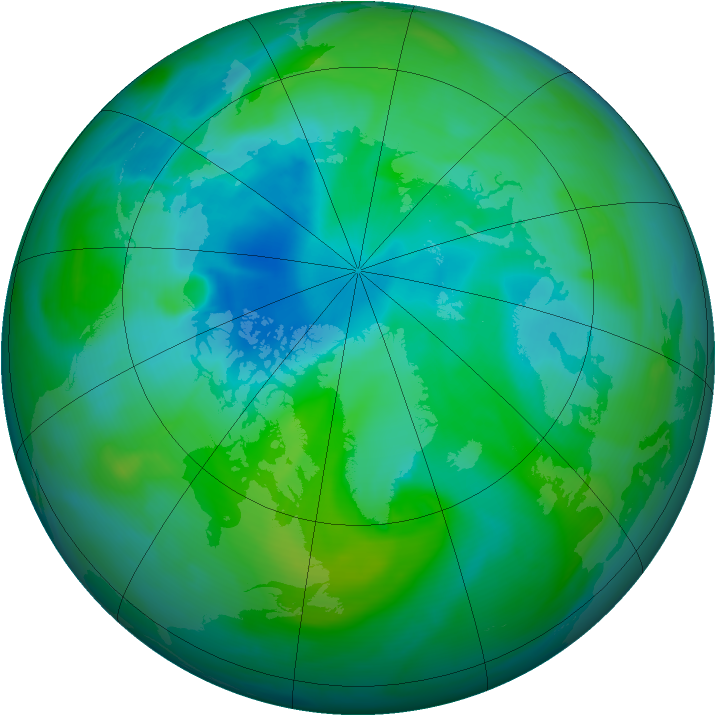 Arctic ozone map for 19 August 2005