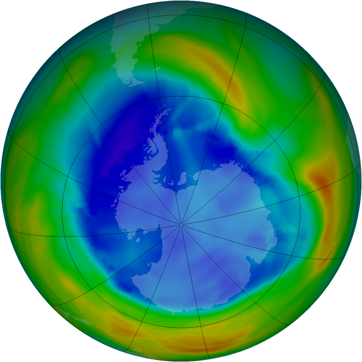 Antarctic ozone map for 19 August 2005