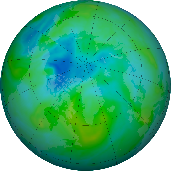 Arctic ozone map for 20 August 2005