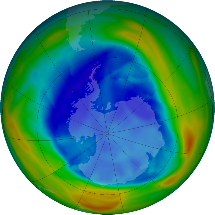 Antarctic ozone map for 20 August 2005