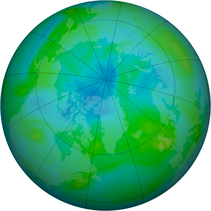 Arctic ozone map for 25 August 2005