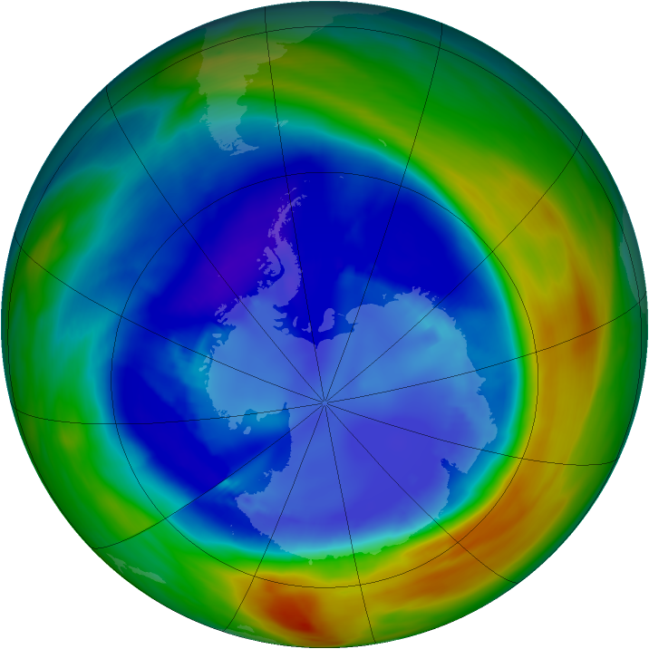 Antarctic ozone map for 30 August 2005