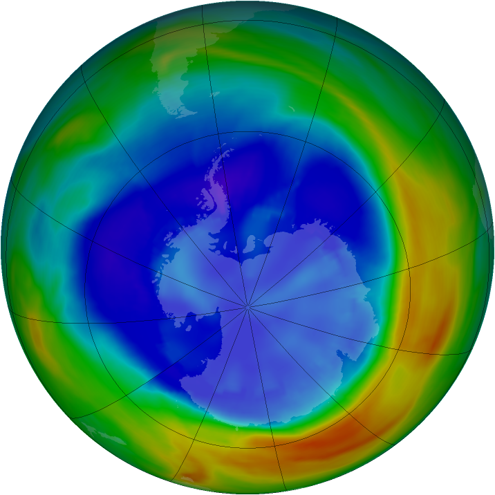 Antarctic ozone map for 31 August 2005