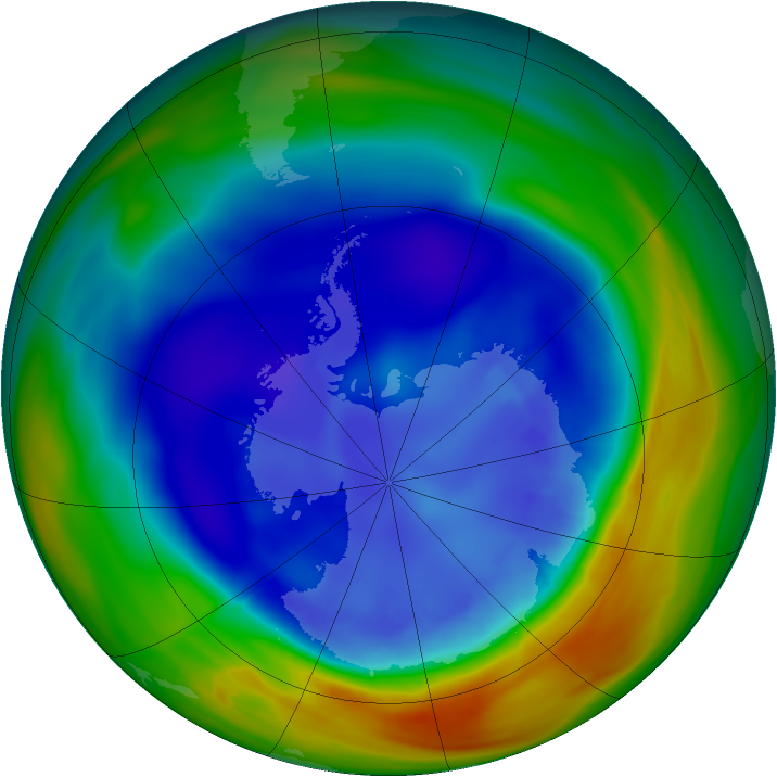 Antarctic ozone map for 01 September 2005
