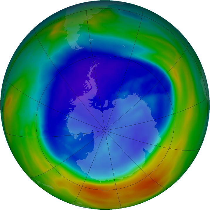 Antarctic ozone map for 02 September 2005