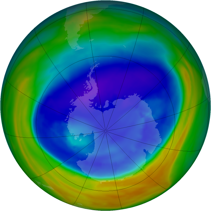 Antarctic ozone map for 04 September 2005