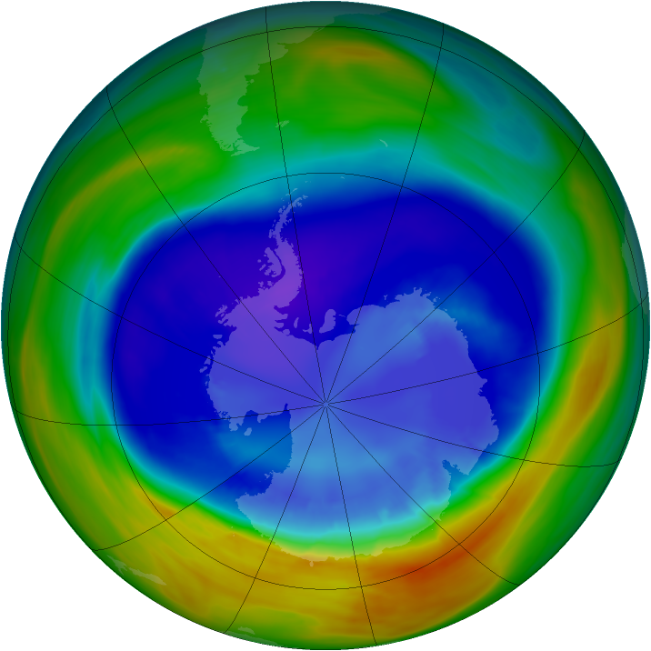 Antarctic ozone map for 06 September 2005