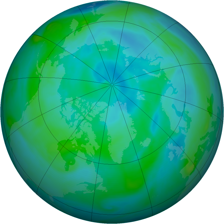 Arctic ozone map for 07 September 2005