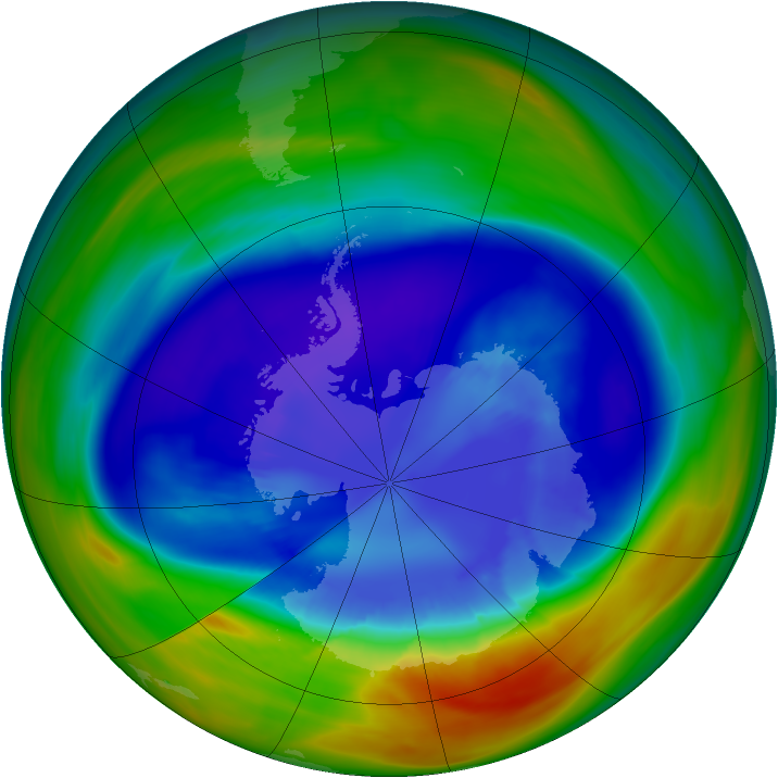 Antarctic ozone map for 07 September 2005