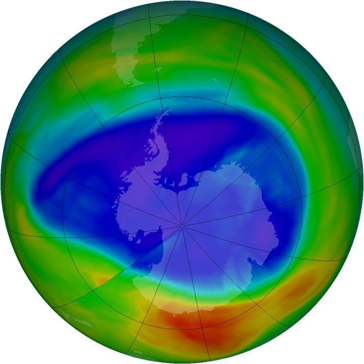 Antarctic ozone map for 08 September 2005