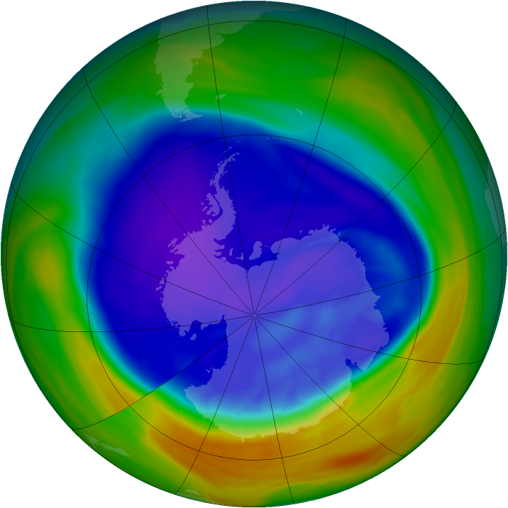 Antarctic ozone map for 10 September 2005