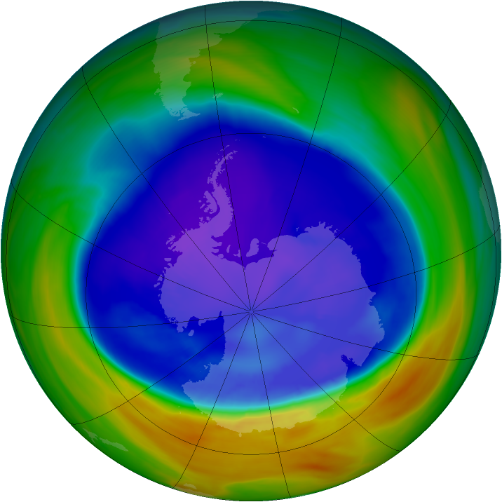 Antarctic ozone map for 11 September 2005