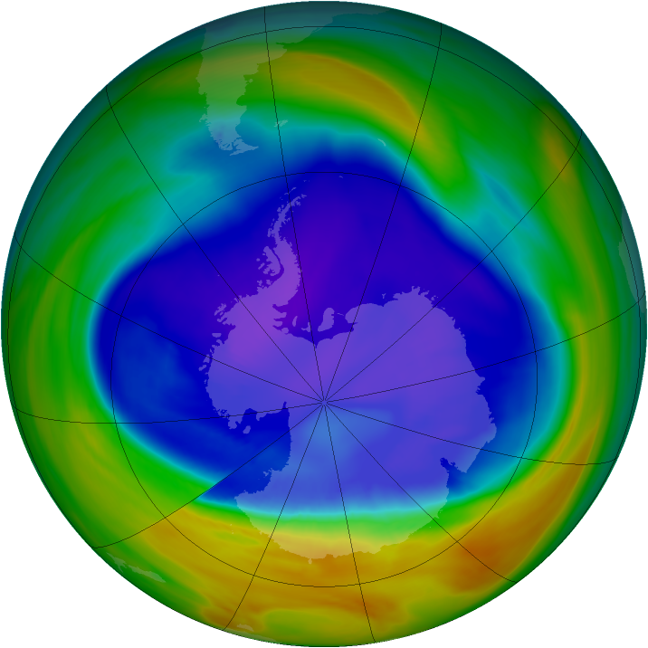 Antarctic ozone map for 12 September 2005