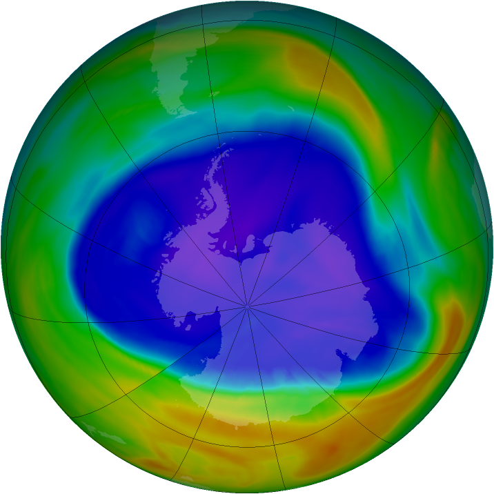 Antarctic ozone map for 13 September 2005