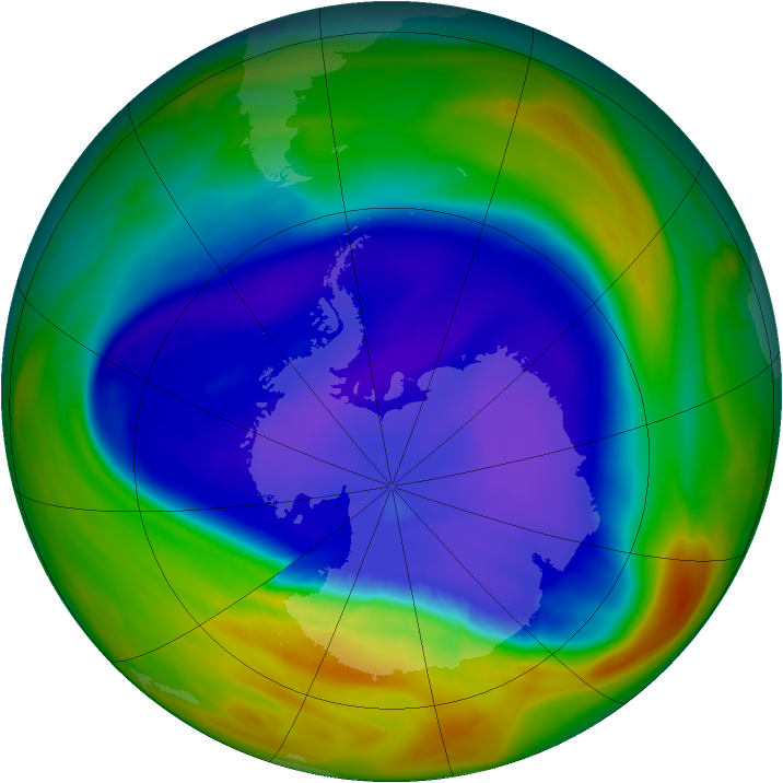 Antarctic ozone map for 14 September 2005