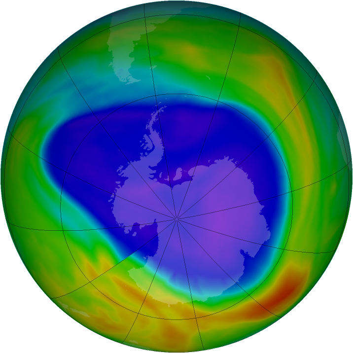 Antarctic ozone map for 15 September 2005
