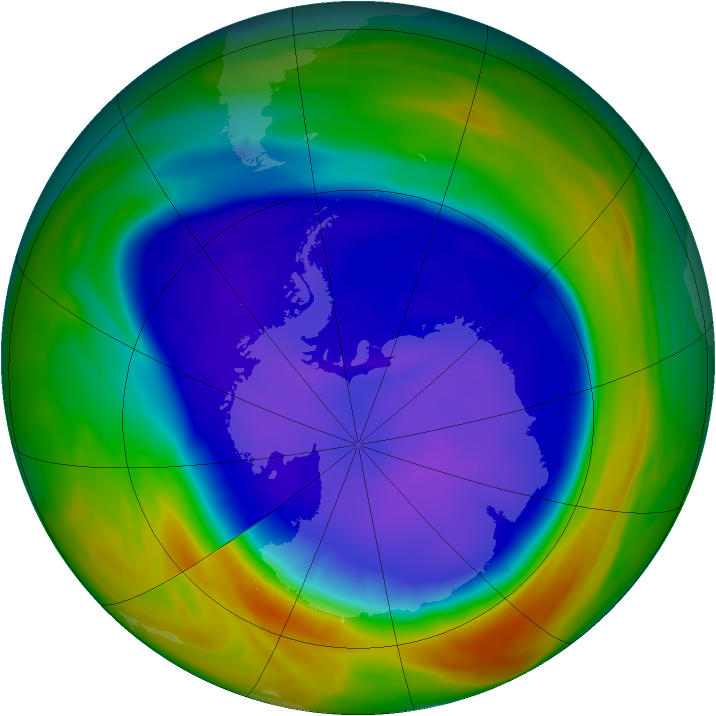 Antarctic ozone map for 16 September 2005
