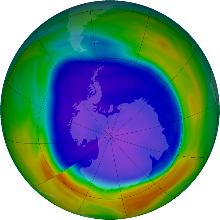 Antarctic ozone map for 17 September 2005