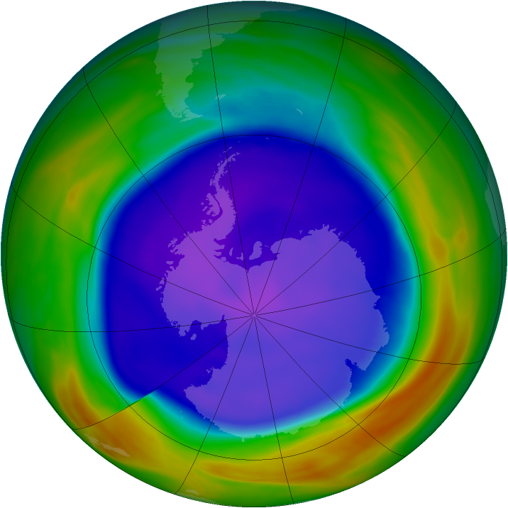 Antarctic ozone map for 19 September 2005
