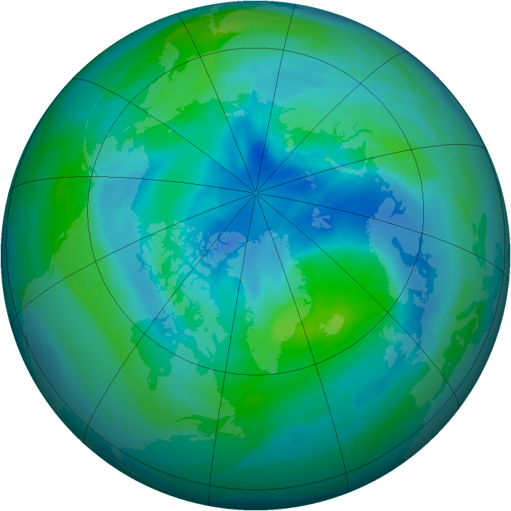 Arctic ozone map for 20 September 2005
