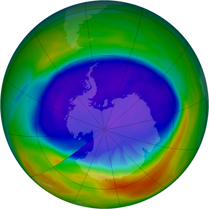 Antarctic ozone map for 21 September 2005