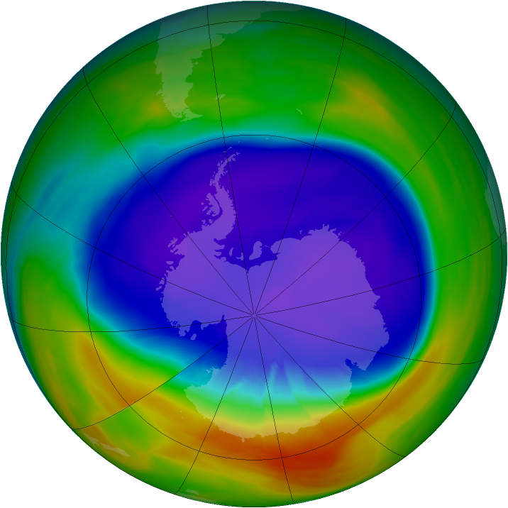 Antarctic ozone map for 22 September 2005