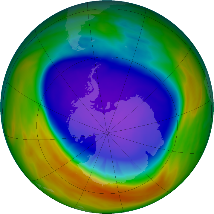 Antarctic ozone map for 25 September 2005