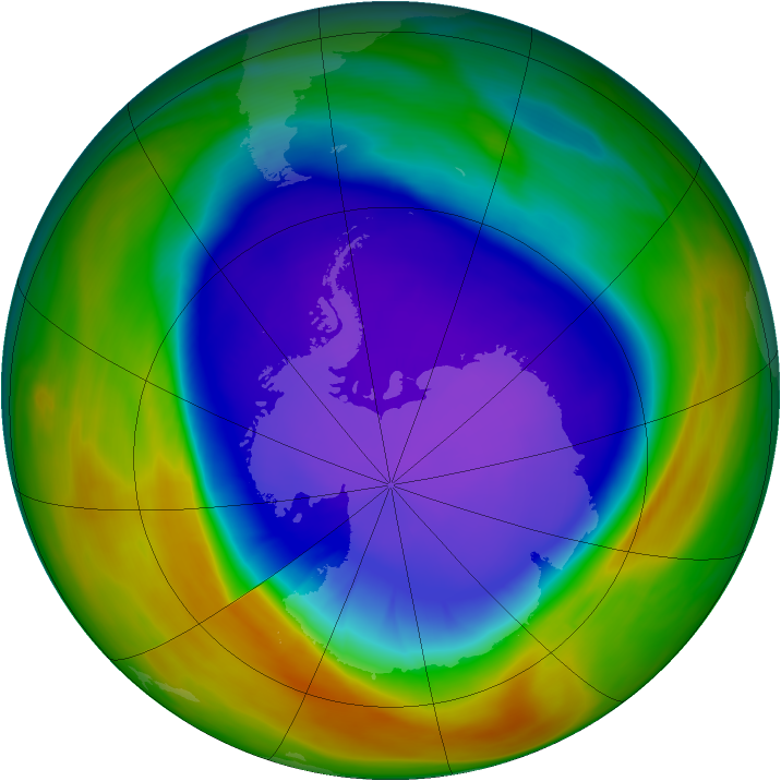 Antarctic ozone map for 26 September 2005