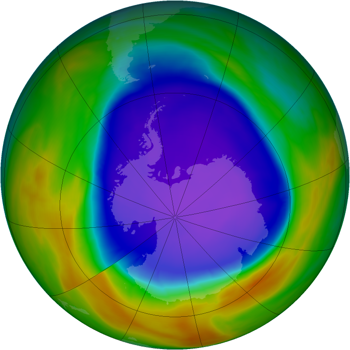 Antarctic ozone map for 27 September 2005