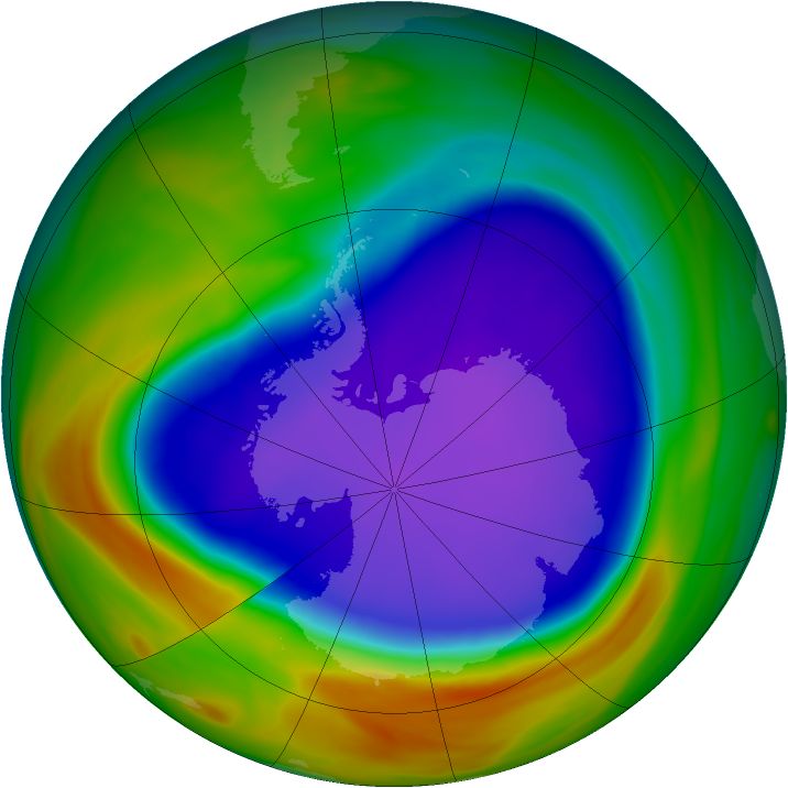 Antarctic ozone map for 30 September 2005