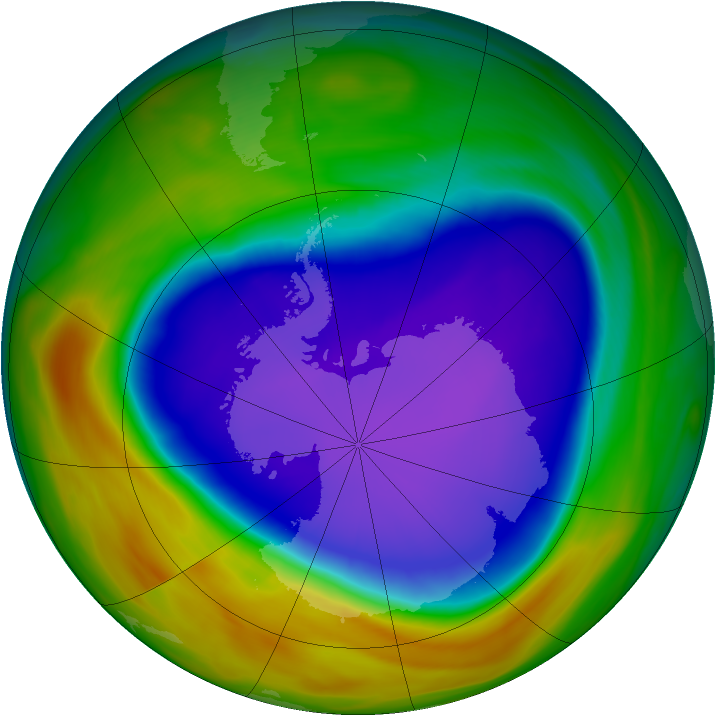 Antarctic ozone map for 01 October 2005