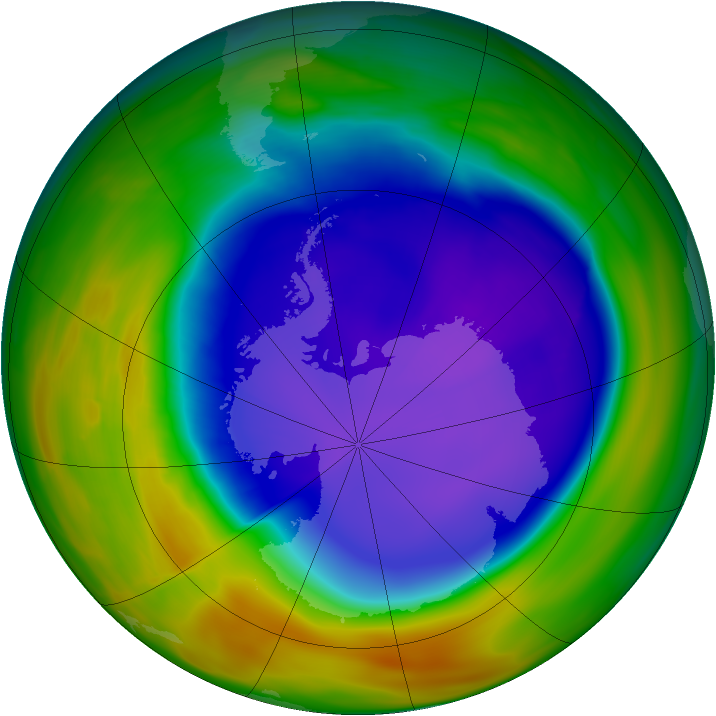 Antarctic ozone map for 04 October 2005