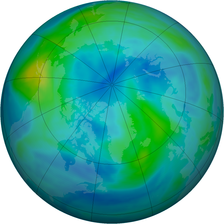 Arctic ozone map for 09 October 2005