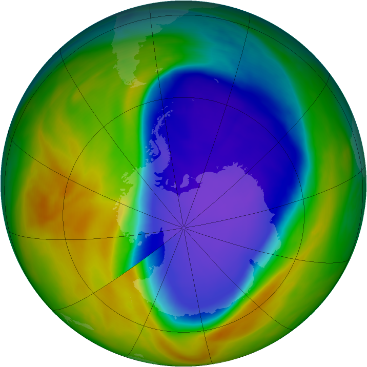 Antarctic ozone map for 12 October 2005