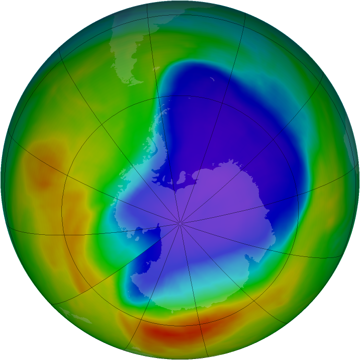 Antarctic ozone map for 13 October 2005
