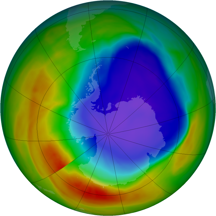 Antarctic ozone map for 14 October 2005