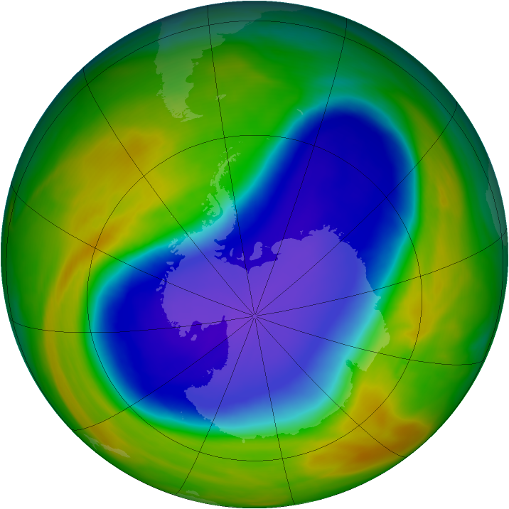 Antarctic ozone map for 22 October 2005