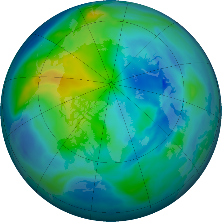 Arctic ozone map for 25 October 2005